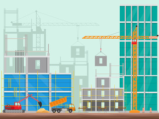 Concept of process construction building a house vector illustration background.