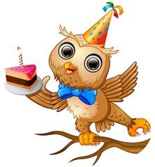 Happy owl cartoon celebrating birthday