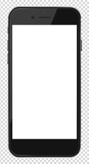 Smart phone with blank screen isolated on transparent background