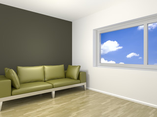 room with a green sofa
