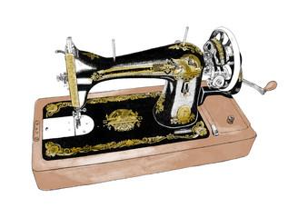 Vintage old retro Sewing Machine pencil Ink Illustration.