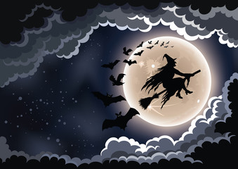 Papiers peints Halloween Wicked witch flying by the moon background.