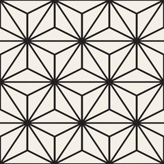 Vector Seamless Black And White StarTriangle Lines Grid Pattern