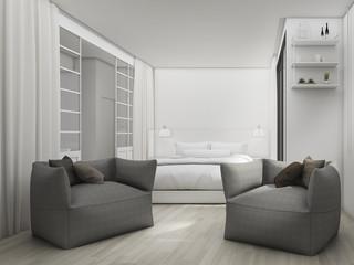 3d rendering soft grey sofa in the bedroom