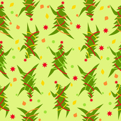 Seamless pattern of dancing Christmas trees in bright colours