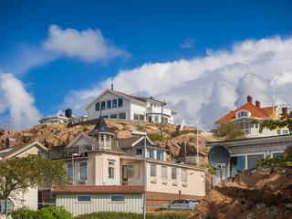 Historic old wooden houses in Lysekil, Sweden