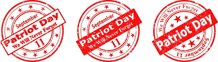 patriot day, us seal and banner, stamp  illustration