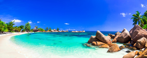Poster Beach amazing tropical holidays in paradise beaches of Seychelles,Praslin