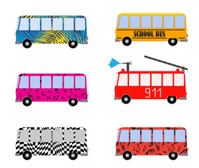 Set of Painted Cartoon Buses for Vacation, School, Fire truck and Musical