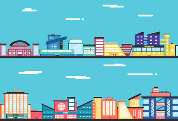 City landscape. Clouds in the sky. Flat vector illustration.
