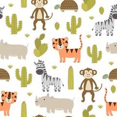 Cute safari animals seamless pattern