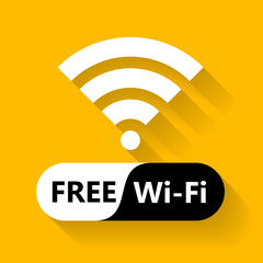 Free wifi icon. Wireless connection sticker