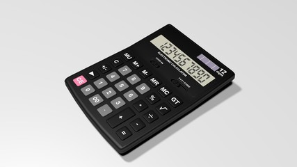 Black calculator isolated on a White background.3d rendering.