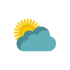 Sun and clouds icon in flat style on a white background