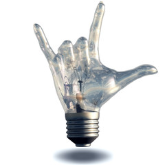 Rock n roll horns gesture lightbulb