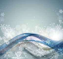 Abstract Christmas and New Year Wave Background with Lights and Snowflakes. Vector Illustration