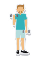 person figure athlete weightlifting sport icon vector illustration design
