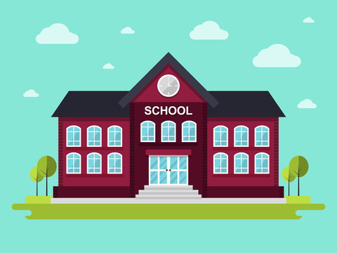 School Building.  Flat Design Style.