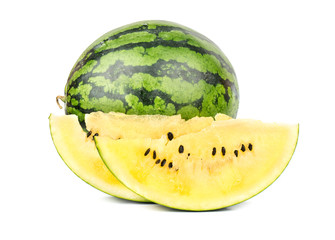 Yellow watermelon with slice