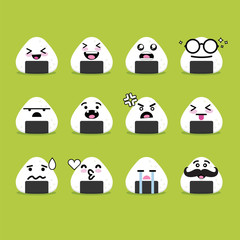 Smile emoji emoticon face in onigiri with a lot of variation