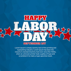 American happy labor day over blue background. Vector illustration.