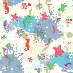 Seamless pattern with sea inhabitants on the background color blots,inks. Vector marine illustration.