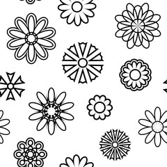 Seamless pattern with silhouettes of flowers.