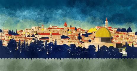 Gerusalemme, Israele: vista della Cupola della Roccia e della città vecchia, disegnata a mano