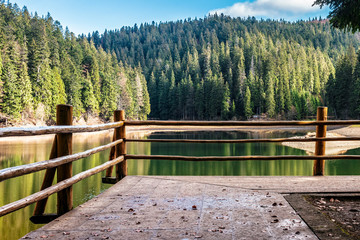 wooden pier on mountain Lake among spruce forest