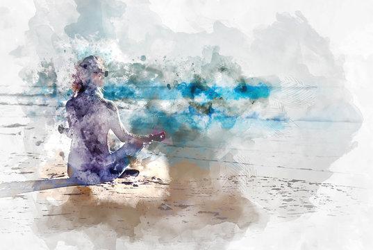 Young woman meditating on the beach. Digital art
