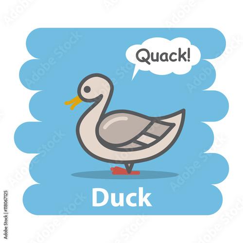 Duck vector illustration on isolated background Cute Cartoon