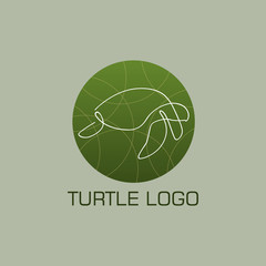 One line turtle logo