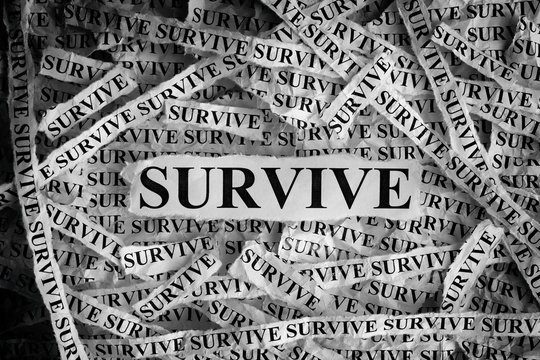 Survive. Torn pieces of paper with the word Survive