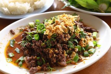 Spicy stir fried pork with Northern Thai spices
