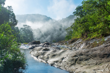 Sunrise in the mountains of Vietnam. Mountain river.