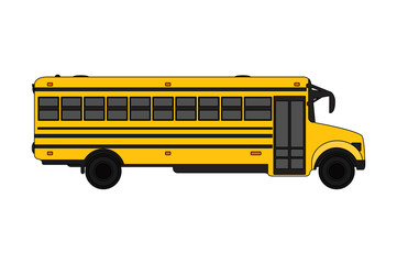 Yellow School bus over white.