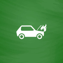 car fired flat icon