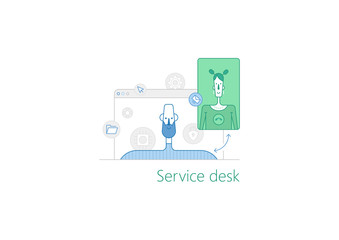 Thin trendy outline style graphics with service desk illustration and service desk icons.