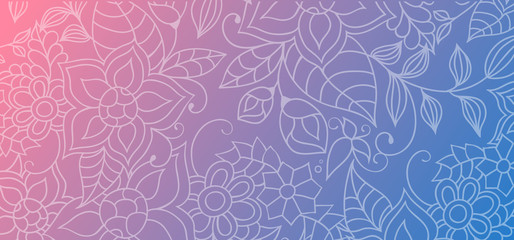 Colorful abstract background with floral ornaments, flowers and leaves for website, prints, banners or identity.