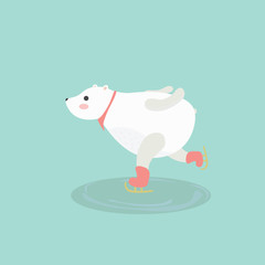 Illustration of cute polar bear on ice skates.