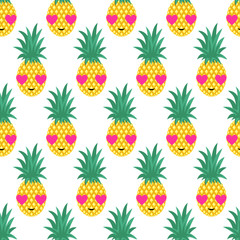 Seamless pattern with smiling pineapples in love for kids holidays. Vector pineapple background. Cute summer fruit illustration. Exotic summer concept. Design for textile, wallpaper, fabric etc.