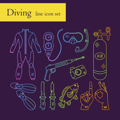 Vector line color rainbow icons with diving equipment