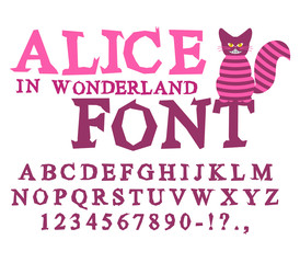 Alice in Wonderland font. Fairy ABC. mad Alphabet  Cheshire Cat.