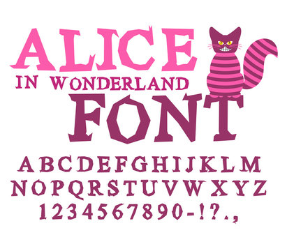 Alice in Wonderland font. Fairy ABC. mad Alphabet  Cheshire Cat.