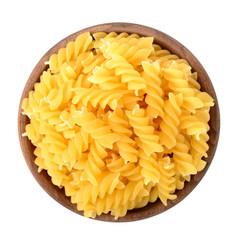 fusilli pasta in the wooden plate