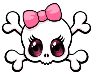 Cute big eyed girl skull with a pink bow, vector illustration.