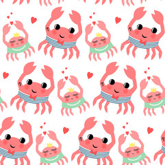 Cute cartoon sailor crab and crab girl seamless pattern on white background. Marine life character vector illustration. Design for textile, wallpaper, fabric, decor, print on baby's clothes etc.