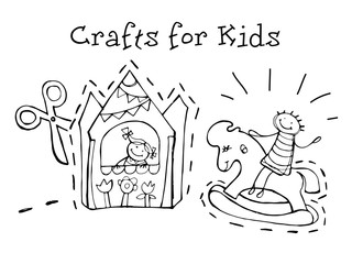 Crafts for kids. Kids Health. Graphic sketch in vector.