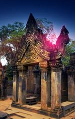 Banteay Srey Temple ruins (Xth Century)  on a sunset, Siem Reap, Cambodia..