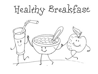 Healthy breakfast. Kids Health. Graphic hand drawn sketch in vector.